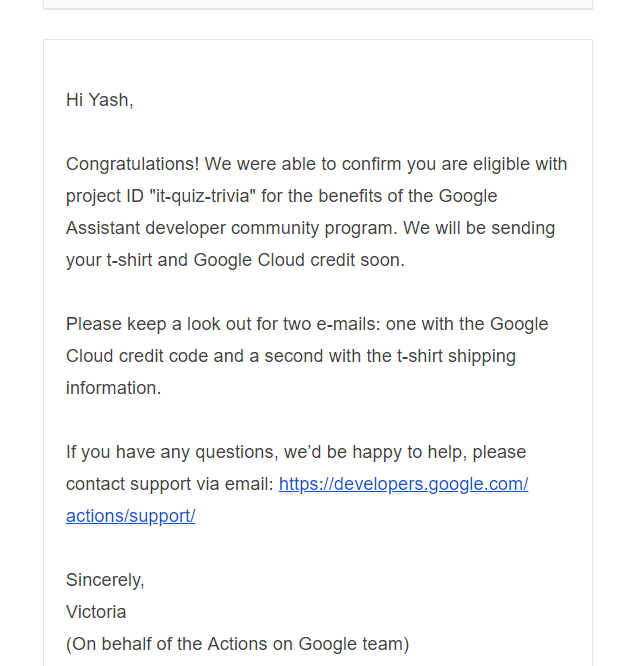 Get yourself a Google Assistant T-Shirt & GCP Credits