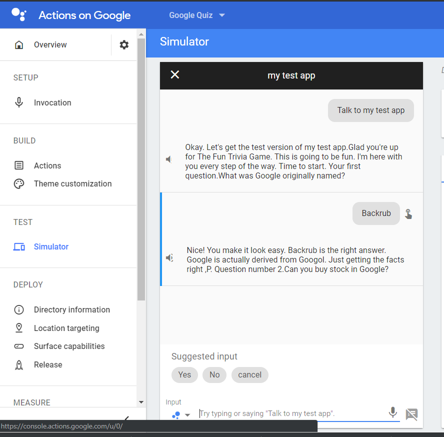 Trivia Quiz App | Google Assistant Developer Community Program